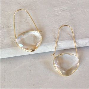NWT Anthropologie • Clear Crescent Hoop Earrings